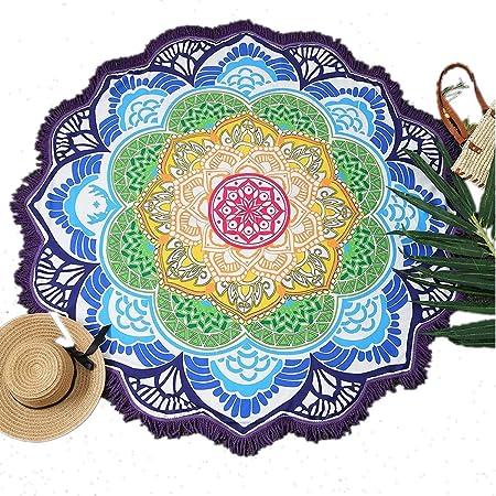 Manfâ Round Strandtuch Quaste Dekor mit Blumenmuster 150 * 150CM Rundtischdecke Yoga Picknick Matte Valentinstag
