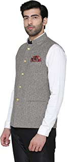WINTAGE Men's Tweed Wool Wedding and Evening Grandad Nehru Jacket Vest Waistcoat : Grey, XXX-Large