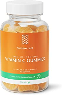 Vitamin C Gummies by Sincere Leaf 250MG | Immune Support Booster | for Kids & Adults | Natural Orange Flavor Vitamins C | ...