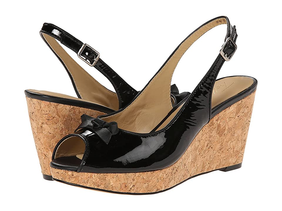 Trotters Allie (Black Soft Patent Leather/Soft Nappa Leather) Women