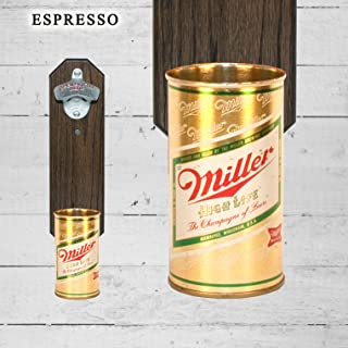 Wall Mounted Bottle Opener with Vintage Miller High Life Beer Can Cap Catcher