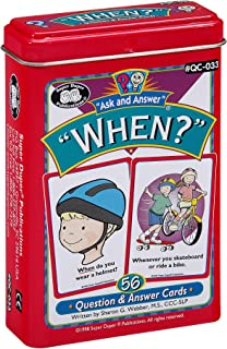 "Ask and Answer ""When?"" Questions Flash Card Deck - Super Duper Publications Educational Learning Resource for Children"