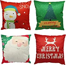 Jacriah Christmas Pillow Covers, 4PCS 18x18 Christmas Decorative Couch Pillow Cases Christmas Tree Home Decor Cushion Cover for Sofa, Couch, Bed and Car, Xmas Gifts (Red and Green)