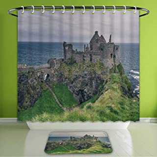 Waterproof Shower Curtain and Bath Rug Set Castle Decor Beautiful Medieval Castle and Grassland On The Sea Coast Ireland Green Grey Blue Bath Curtain and Doormat Suit for Bathroom 60