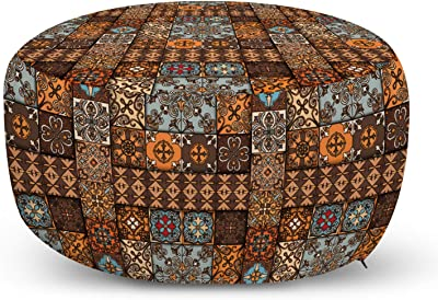 Ambesonne Moroccan Ottoman Pouf Turquoise Yellow Green Decorative Soft Foot Rest with Removable Cover Living Room and Bedroom Pale Italian Style Curly Flowers in Squares Retro Composition
