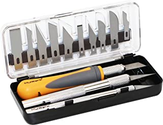 MulWark 16pc Precision Craft Hobby Utility Knife Set- Sharp Scalpel Razor Knives Tool for Architecture Modeling, Scrapbooking, Felt&Wood&Leather Working- Stencil, Fine Point, Scoring, Chiseling Blades