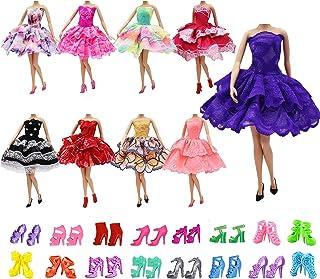 ZITA ELEMENT 10 Stück Puppen Sachen für 5er Abendkleid 5 Paare Schuhe Mädchen Prinzessin Kostüm handgemachtes Partei Brautjungfer Festzug Minikleid Ballkleider Kleider