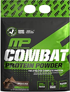 Muscle Pharm Combat Protein Powder, 5 Protein Blend, Chocolate Milk, 10 Pounds, 129 Servings (MPH1006/549/1079)