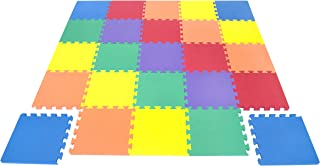 Wonder Mat Non-Toxic Non-Recycled 6-Color 25-Piece Extra Thick Foam Play Floor Mat with Beveled Edges for Kids