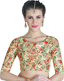 STUDIO Shringaar Women's Digital Printed Multi - Coloured Saree Blouse With Boat Neck.