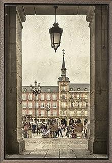 Cuadro enmarcado - Cuadro de la Plaza Mayor de Madrid - Fotografía artística y moderna de alta calidad - Listo para colgar...