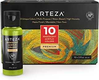 Arteza Iridescent Acrylic Paint Set, 60 ml Bottles, 10 Chameleon Colors, High Viscosity Shimmer Paint, Water-Based, Blendable, for Canvas, Wood, Rocks, Fabrics