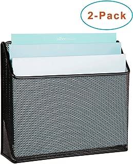 DESIGNA 3 Tiers File Folder Organizer,Mesh Standing File Organizer Black (2 Pack)