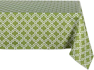 DII 100% Polyester, Spill Proof, Machine Washable, Tablecloth for Outdoor Use, 60x84, Fresh Spring Lattice, Seats 6 to 8 P...