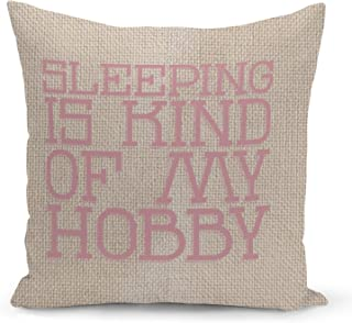 Sleeping is my hobby Beige Linen Pillow with Rose Gold Glitter Foil Print Funny Theme Couch Pillows