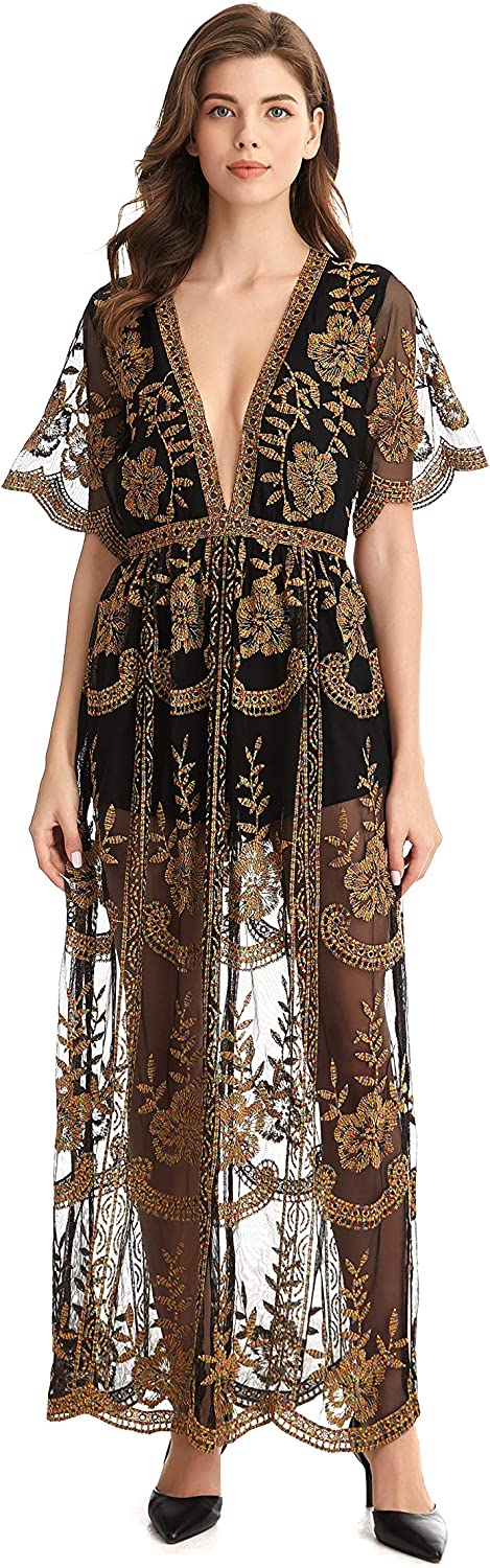Sodress Women's Deep V Neck Short Sleeve Floral Lace Long Dress Womens Sexy Casual Print Maxi Dress Wedding Party Gown (Large, Blackmulti)