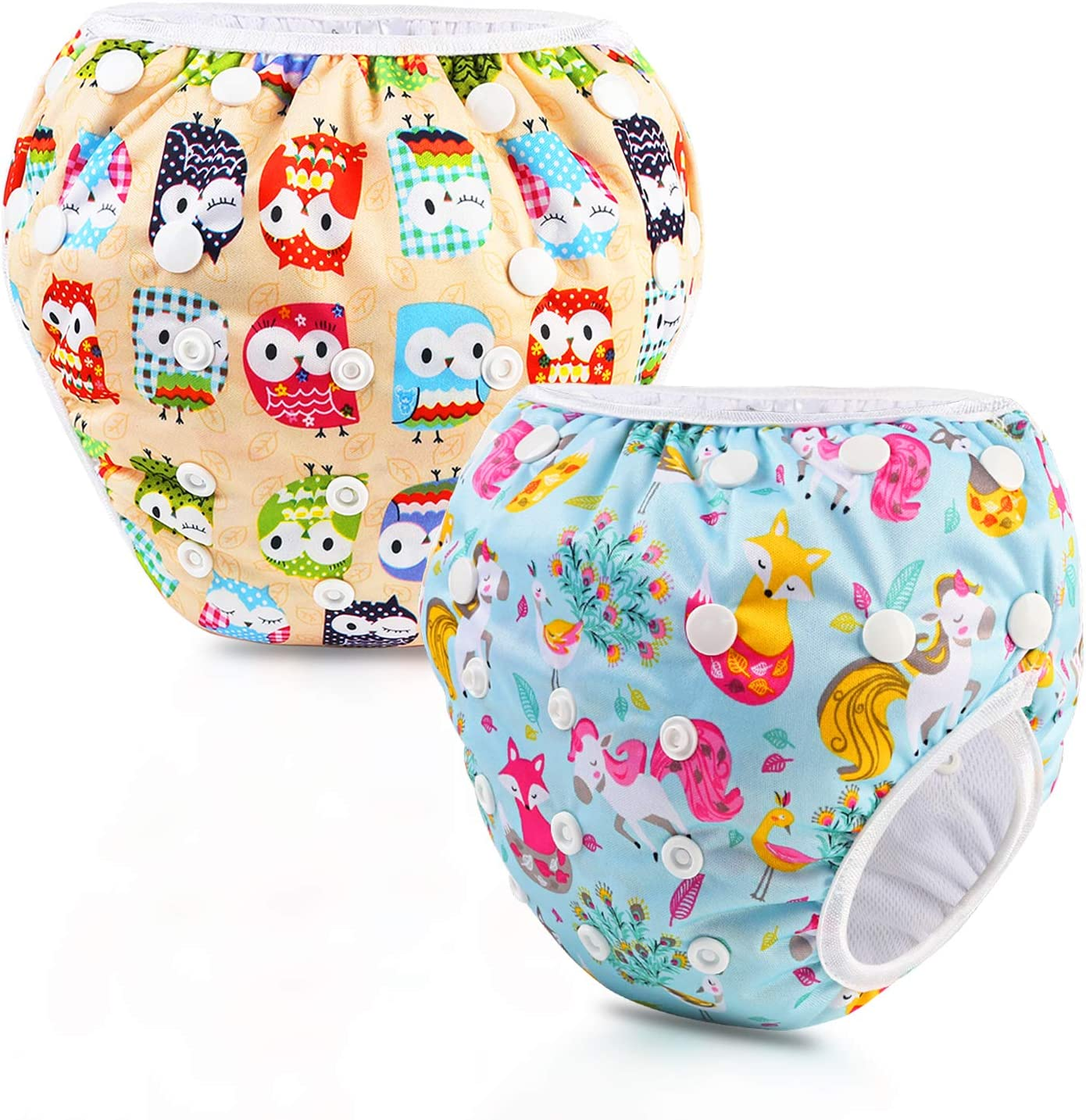 PHOGARY Swim Diaper (2 Pack), Adjustable Size for Swimming Lesson & Baby Shower