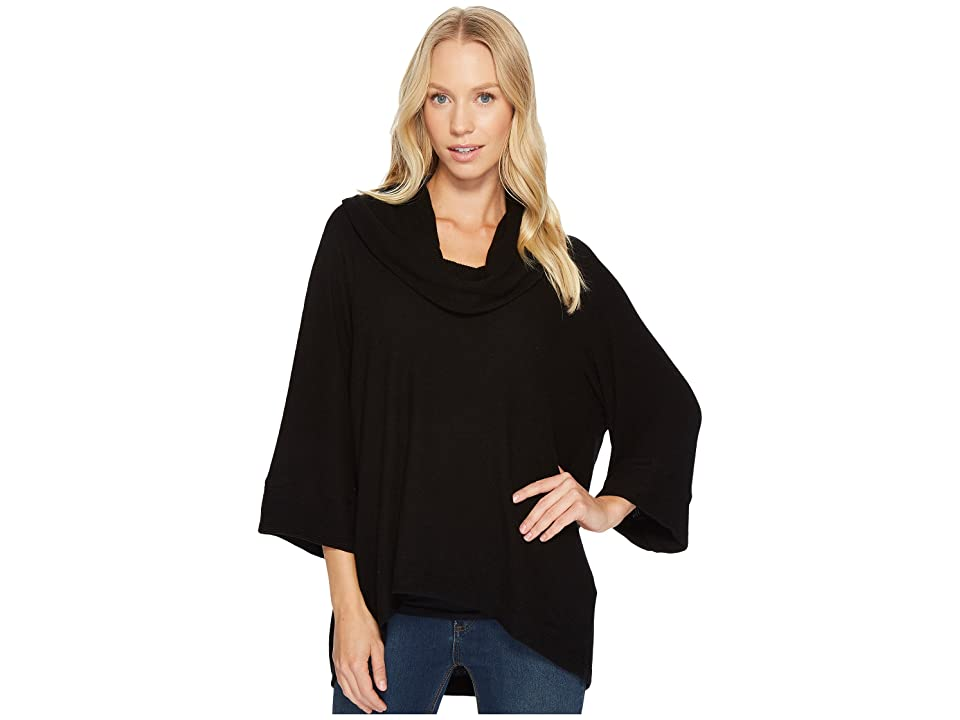 Three Dots Brushed Sweater Oversized Cowl (Black) Women