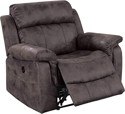 Benjara 40 Inch Leatherette Power Recliner with Tufted Details, Brown