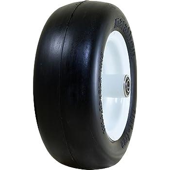 "Marathon 11x4.00-5"" Flat Free Lawnmower Tire on Wheel, 5"" Centered Hub, 3/4"" Bushings"