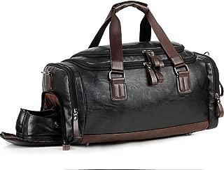 Leather Gym Bag for Men Travel Weekender Overnight Duffel Bag Tote For Men (balck)