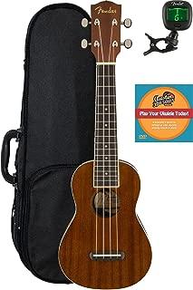 Fender Seaside Soprano Ukulele Bundle with Hard Case, Tuner, and Austin Bazaar Instructional DVD