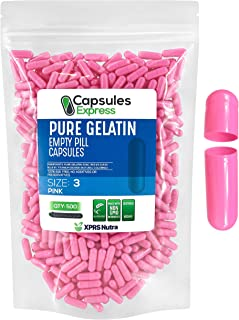 XPRS Nutra Size 3 Empty Capsules - 500 Count Colored Empty Gelatin Capsules - Capsules Express Empty Pill C...