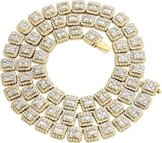 """14K Yellow Gold 9.30mm Raised Square Baguette Diamond Chain 22"""" Necklace 23 CT."""