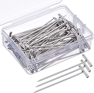 Metal T-Pins Steel Wig Pins with Plastic Box for Blocking Knitting Modelling Crafts,Pack of a Box