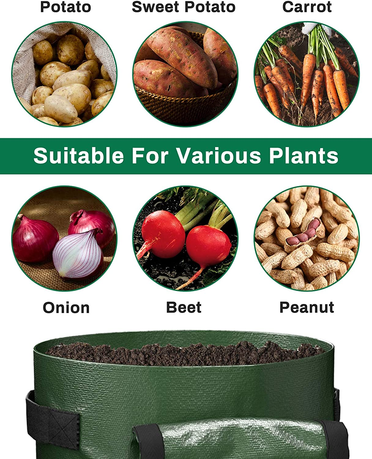 Heavy Duty Nonwoven Potato Pots with 2 Flaps /& Handles Decorlife Potato Bags 6 Pack 7 GA Easy to Harvest and Move