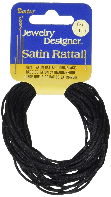 Satin Rattail 1814-32J Rattail Satin Cord Black 1mm 6yd