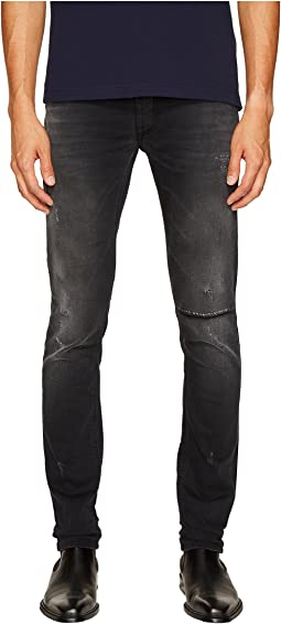 Distressed Grey Slim Fit Jeans in Black