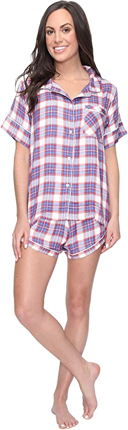 Plush - Ultra Soft Short Sleeve Woven Plaid PJ Set