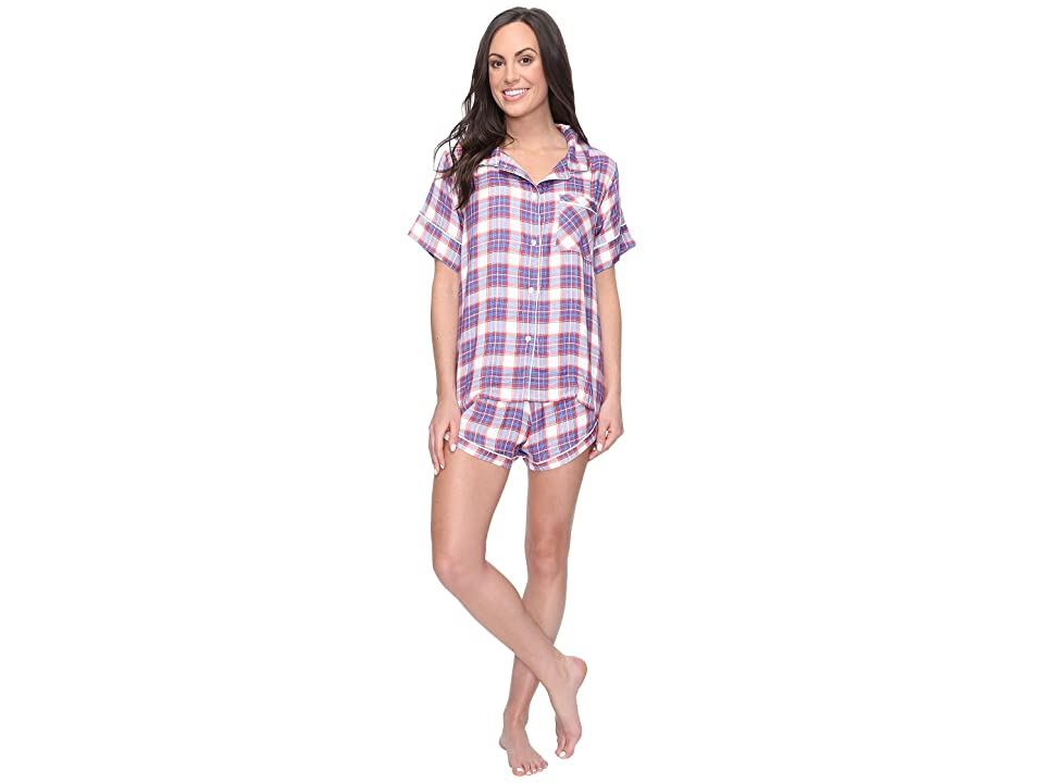 Plush Ultra Soft Short Sleeve Woven Plaid PJ Set (Red/Blue Plaid) Women