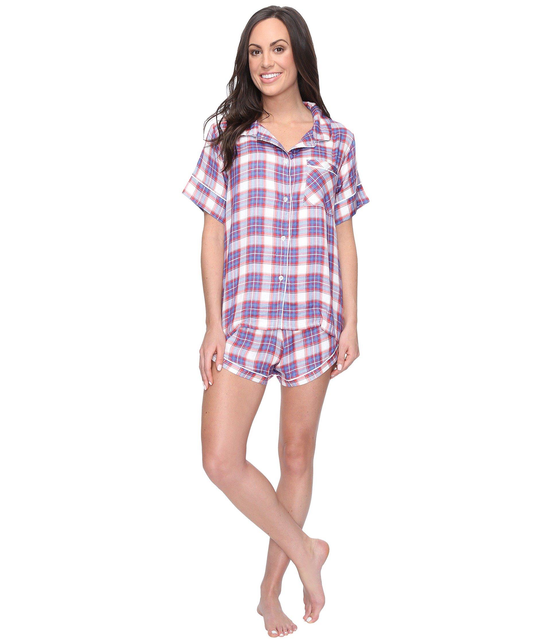 Pantalón de Pijama para Mujer Plush Ultra Soft Short Sleeve Woven Plaid PJ Set  + Plush en VeoyCompro.net