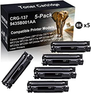 5-Pack Compatible ImageClass MF244dw MF247dw MF249dw Toner Cartridge Replacement for Canon 137 CRG-137 9435B001AA (Black) Imaging Toner Cartridge (High Capacity)