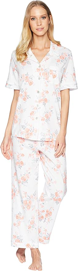 Jersey Short Sleeve Floral Capris Pajama
