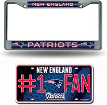 Rico New England Patriots NFL Glitter Bling Chrome Plate Frame & Patriots Number One Fan License Plate