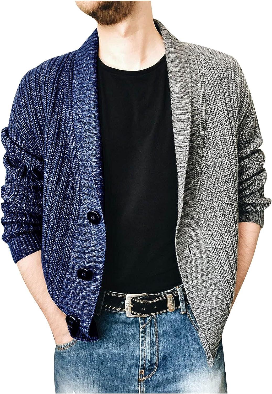 FORUU Men's Sweater Jacket 2021,Fall Winter Solid Lapel Single-breasted Knit Cardigan Sweater Fashion Knit Blazer Men