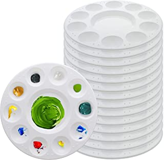 U.S. Art Supply 11-Well Round Plastic Artist Painting Palette (Pack of 15) - Paint Color Mixing Trays - Fun Kids Parties, ...
