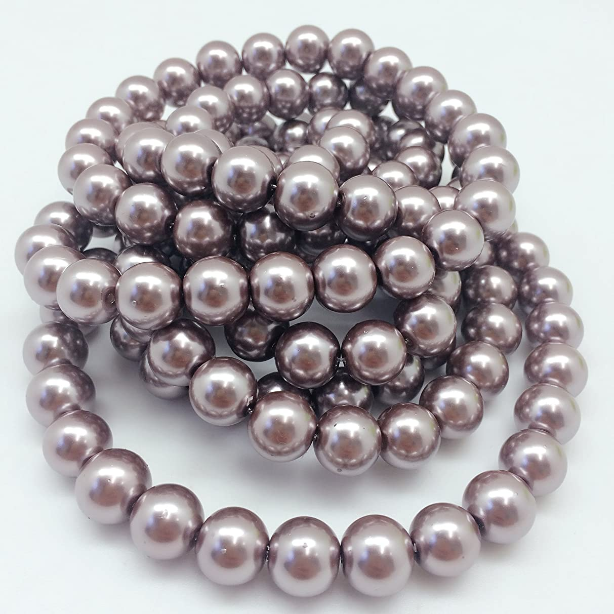 PEPPERLONELY Brand 2 Strands (About 140 PC, 320Grams) Rosy Brown Glass Pearl Round Beads, 12mm(1/2 Inch)