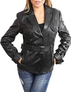 afd5260d4962 Womens Black Soft Leather Blazer Jacket Last Size 14 Waist Belt Fitted Coat  Paris