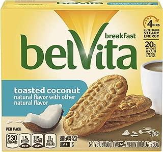 belVita Breakfast Biscuits, Toasted Coconut Flavor, 30 Packs (4 Biscuits Per Pack)