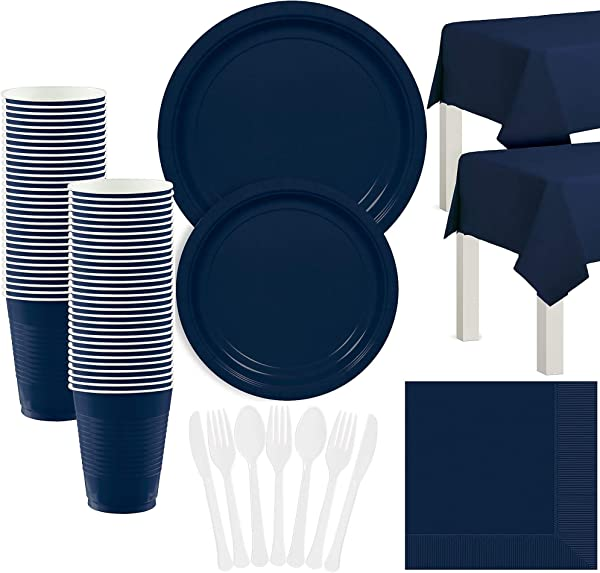 Amscan Navy Blue Paper Tableware Kit For 50 Guests Party Supplies Set Includes Plates Cups Table Covers