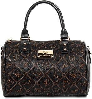 CASPAR klassische Damen Tasche / Handtasche / Henkeltasche / Bowlingtasche - 3 Farben, Farbe:schwarz