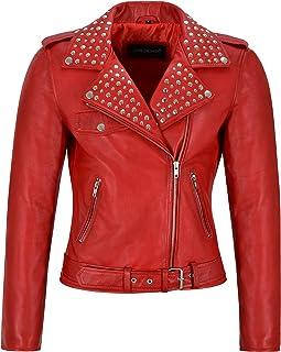 Giacca in Vera Pelle da Donna Red Napa con Borchie 'Rockstar Fashion' Biker Style 4326