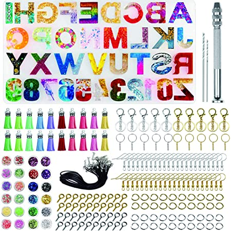 MACTREM 328 PCS Silicone Alphabet Casting Molds and Tools Set Letter /& Number DIY Epoxy Mould for Key Chain Earrings Necklaces Bracelets Pendant
