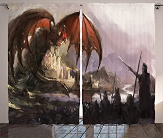 Ambesonne Dragon Curtains, Medieval Fantasy Dragon and Dark Knights Scene with Fortress Castle Image, Living Room Bedroom Window Drapes 2 Panel Set, 108