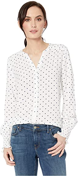 Printed Blousing Dot Print Romantic Ruched Long Sleeve