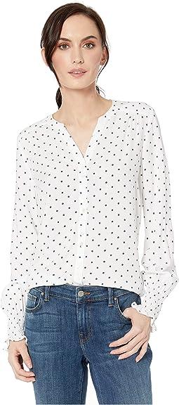 ebe9f874 Ivanka trump dobby dot georgette long sleeve peasant blouse ...